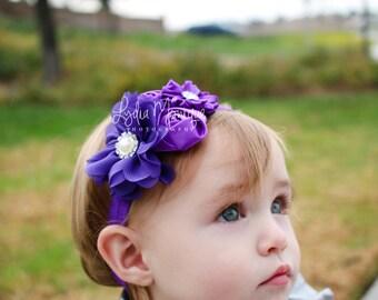 Baby headbands,  purple flower headband, infant headbands, purple headbands, newborn headbands, easter baby, 1st birthday