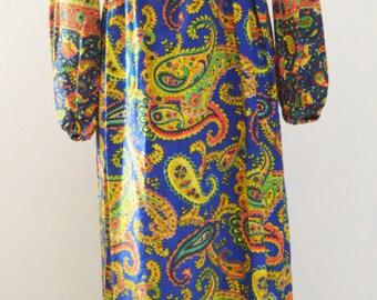Vintage Bohemian Paisley Maxi Dress