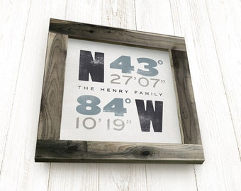Framed Coordinates, Personalized, House Warming Gift, GPS Coordinates Sign, Framed Wall Art, Framed Typography, Handcrafted Barnwood Frame