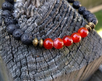 Lava stone and Fire Agate beaded bracelet