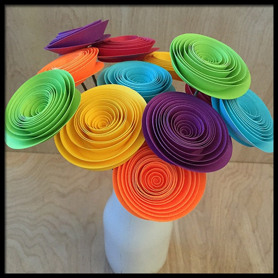 Rainbow Paper Flowers Fiesta Party Decorations Colorful