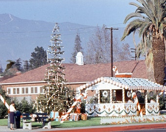 Vintage Color Transparency Slide..A Christmas Village 1950's, Original 35mm Color Photo Slide, Vernacular Photography, Social History Photo