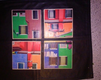 Colorful Houses Coaster Set