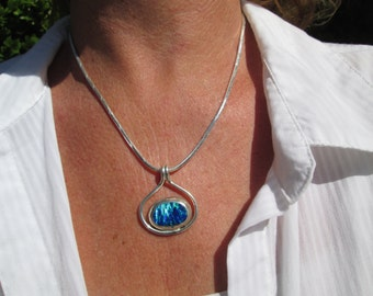 Blue and Green Opal  and Sterling Necklace