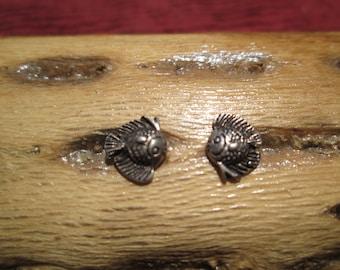 Tiny Sterling Sunfish Stud Earrings