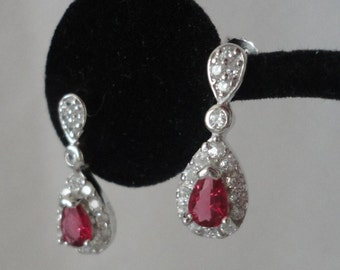 Lab Created Diamond Ruby Set In .925 Sterling Silver*****.