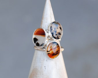Montana Agate Ring - Sterling Silver Agate Ring - Montana Agate Jewelry
