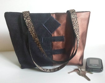 Small, Funky, Bronze Vinyl, Tote Bag, Denim mixed, 2 strap animal print, Dressy and Casual, Lite and Roomy