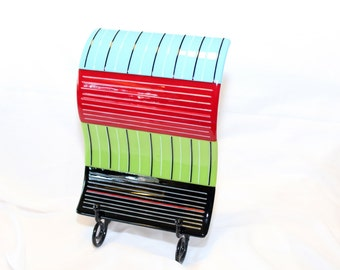 Handmade Fused Glass Artwork - Fused Glass Curved Panel in Stand