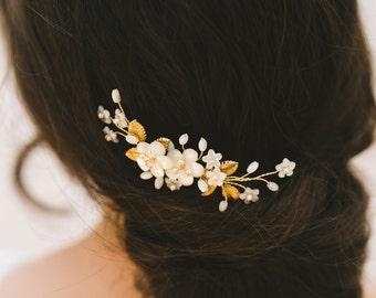 wedding hair comb, bridal headpiece, gold wedding hair accessories, bridal hair comb, small hair comb, gold bridal comb, floral comb ETTIE