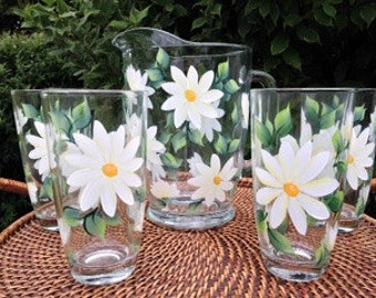 White Daisies Hand-Painted 5-piece Hostess Set