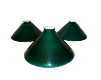 Art Deco Emeralite Glass Lamp Shades Set of 3