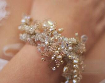 POTPOURRI - Bridal Beaded Flower Bracelet, Butterflies, Leaves, Fairytale Wedding, Pearl And Crystal Bracelet