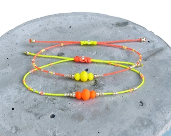 Neon yellow and coral orange - Friendship bracelet - Polyester thread neon beads and silver miyuki delica seed beads - Boho chic jewelry