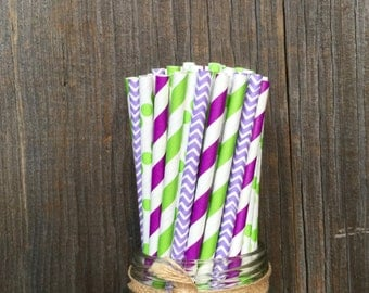 100 Purple, Lilac and Lime Green Stripe, Chevron and Polka Dot Paper Straws - Tinkerbell Birthday- Party Supply