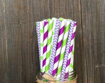 100 Purple, Lilac and Lime Green Stripe, Chevron and Polka Dot Paper Straws - Tinkerbell Birthday- Party Supply, Free Shipping!