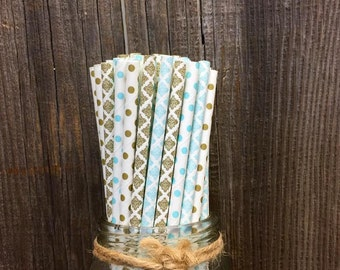 100 Light Blue and Gold Damask and Polka Dot Paper Straws- Wedding Supply- Bridal or Baby Shower Supply- Birthday Straw- Gold Party Goods