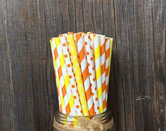 100 Yellow and Orange Stripe and Polka Dot Paper Straws- Birthday, Baby Shower, Party Supply- Picnic Supply