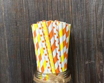 Orange Paper Straws, Yellow Stripe Straws, 100 Birthday Straws, Paper Straws, Free Shipping