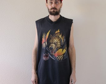 Biker Early 90s Sleeveless Tee Shirt Mens XL