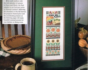 CCS- Peace & Plenty Harvest Sampler Cross Stitch Pattern - Flower Alphabet Sampler