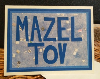 Mazel Tov Card Blue