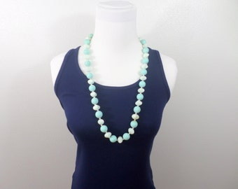 Silicone Blue Bead Necklace Soft Bead Light Blue Pale Blue Large Beaded Long Sky Blue Vintage Long Blue Necklace Jewelry