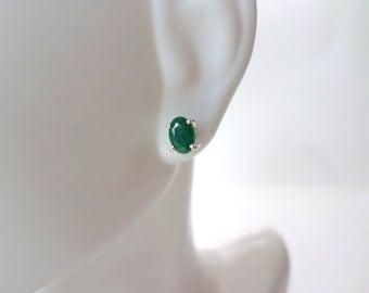 Raw Emerald Stud Earrings Sterling Silver Oval Emerald Earrings May Birthstone Jewelry Small Little Green Gemstone Earrings