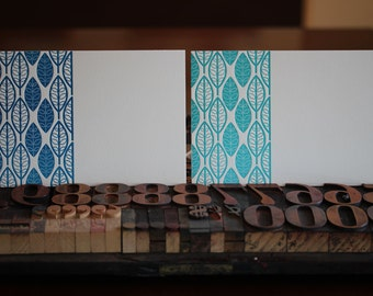 Mid-Century Leaf Pattern Blank Note Card