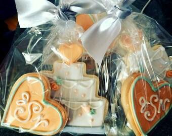 Wedding Cakes with Monogram Heart Iced Shortbread Cookies - 1 dozen