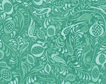 Peacock Fabric, Tonal Birds - Azuli by Julie Paschkis for In The Beginning - 7JPG Blue Teal - Priced by the 1/2 yard