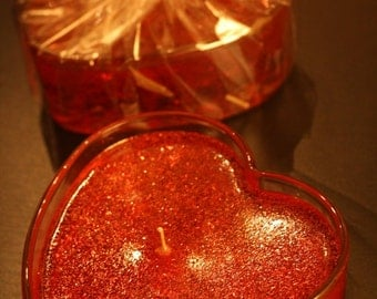 Sweetheart Valentine's Day Clear Heart Candle with Gel Wax