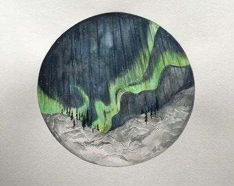 Northern-light sky, original artwork.