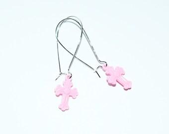 Cute Pale Pink Latin Cross Design Silver Plated Drop Earrings