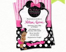 Minnie Mouse Baby Shower Invitation, Baby Girl Minnie, Style V6 - YOU PRINT