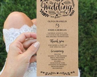 Wedding Program Template - 4x8 Wedding Program - Editable Wedding Program - DIY 4x8 Ceremony Program - Woodland Foliage - Instant Download