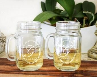 2 Monogrammed Mason Jar, Custom Mason Jar Glass, Custom Drinking Jar, Personalized Jar Glass: Shabby Chic Wedding, Country Wedding