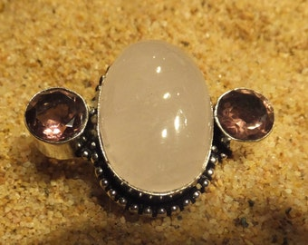 Rose Quartz, Amethyst and Sterling Silver Ring.... size 8.5 only