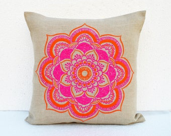 """Mandala linen pillow cover, embroidered pillow case, tribal, indian craft pillow, ethnic, 16""""X16"""""""