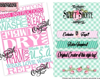 Sweet Shoppe Care Instructions -Machine Wash Cold.Tumble Dry Low.Warm Iron- PNG JPG Instant Download File Wash Instructions Sewing Tag Label