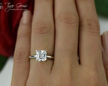 2 carat 14k White Gold Ring, Princess Engagement Ring, Man Made Diamond Simulant, Wedding Ring, Square Cut, Classic Solitaire Bridal Ring