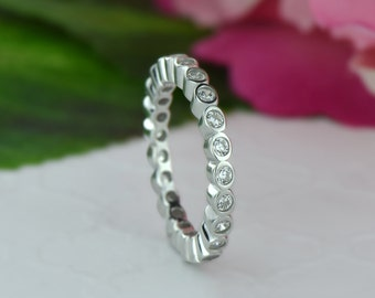 1/2 ctw Bezel Eternity Band, Wedding Band, Engagement Ring, Man Made Diamond Simulant, Bridal Ring, Sterling Silver, Promise Stacking Ring