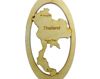 Thailand Ornament - Thailand Ornaments - Thailand Souvenir - Map of Thailand - Thailand Decor - Thailand Gift - Personalized Free