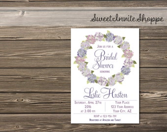 Hydrangea Bridal Shower Invitation, Floral Wedding Shower Invitation, Purple Wreath Bridal Shower Invite, Baby Shower, Wedding Invite