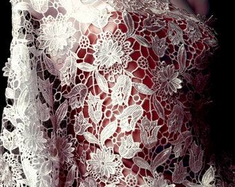 Natural White Guipure Lace Fabric with 3D Floral Applique Crocheted Lace Half Yard for DIY Bridal dress Scarf Evening Shawl Ready to ship