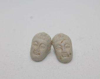 Ceramic Buddha Head Stud Earrings