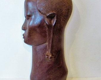 A Stunning Antique African Hand Carved Wood Female Figure/Sculpture/Mask - Free Standing /MEMsArtShop.