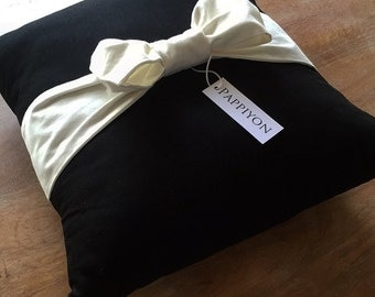 "Bow Pillow 14""  Black with Creamy White Bow"
