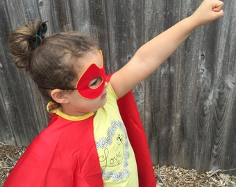 Red and Gold Satin Super Hero Cape and Felt Mask Set