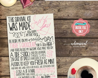 """Wedding Survival Kit Card """"Customized"""" (Printable File Only) Wedding Day Kit, Survive the Wedding, From the Bride, Bridesmaid Kit Card"""